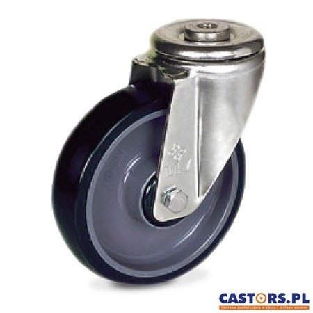 Stainless swivel hole-mounted caster KJX-POPU 160XK Poliurethane tyre / Polyamide rim / Load capacity 300 kg / 160 mm / ball bearing