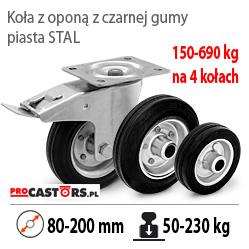 Koła stalowo-gumowe do wózków magazynowych transportowych i gospodarczych.