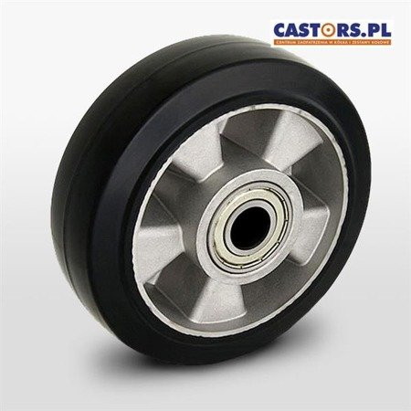Aluminium-rubber wheel   ALGE 160/20K for pallet truck, pallet jack. Load capacity 300 kg / 160 mm/ ball bearing