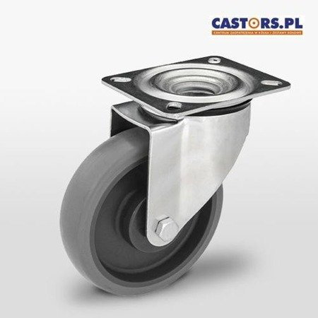 KPE-WTE 125K1(40) Top Plate Swivel Castor 125mm / Non marking elastic rubber with Polypropylene Center/ ball bearing / 150kg