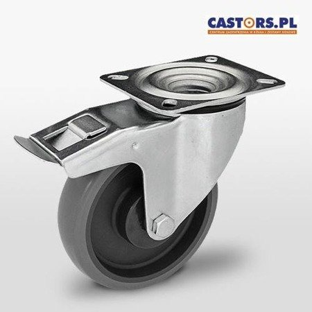 KPE-WTE 200K1-HC Top Plate Swivel Castor with break 200mm / Non marking elastic rubber with Polypropylene Center/ ball bearing / 220kg