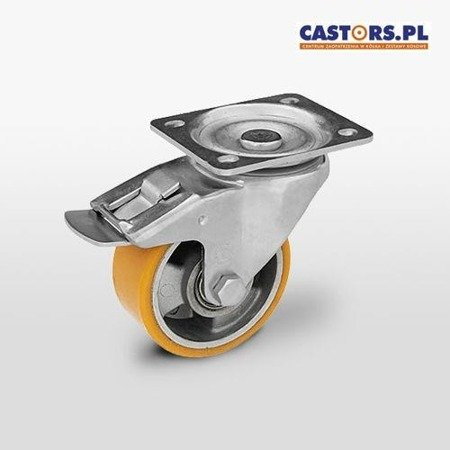 KPM-ALPU 125K-HC Top Plate Swivel Caster with Brake 125mm / polyurethane-alumimium / ball bearing / 300kg