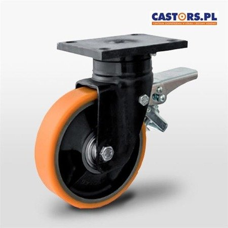 KPWW-ZPU 200K-HC Top Plate Swivel Castor with break 200mm / polyurethane-cast iron / ball bearing / 1100kg