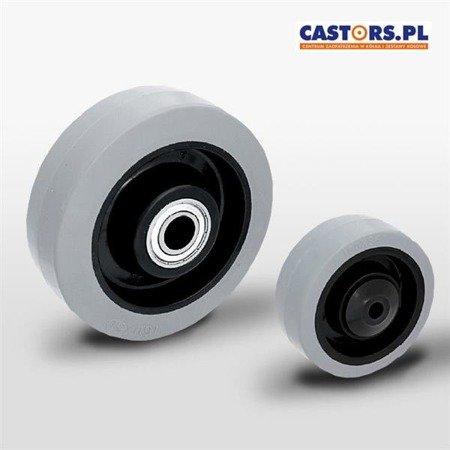 POGES 100/10K1 wheel, Polyamide rim, Non-marking grey rubber tyre, Load Capacity 160 kg/ 100mm/ ball bearing