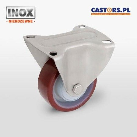 Stainless fixed castor TPX-POPUB 100K1 Polyamide rim, PU tyre, Load Capacity 200kg / 100 mm / ball bearing