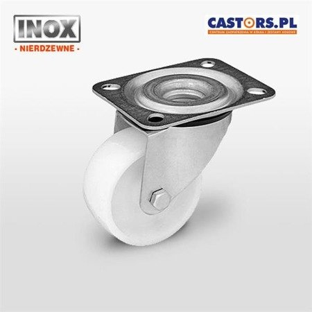 Stainless swivel castor KPX-POB 80S Polyamide wheel. Load capacity 200 kg / 80mm / plain bearing