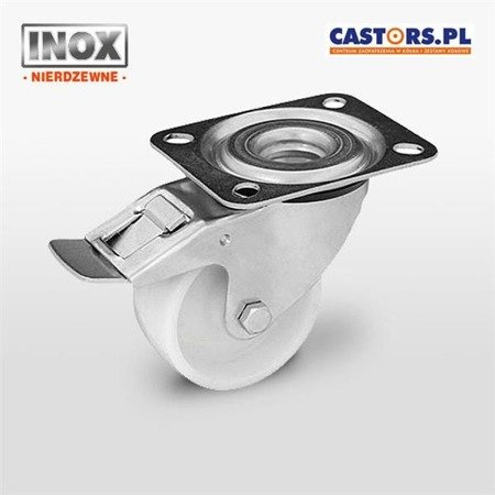 Stainless swivel castor with break KPX-POB 125S-HC Polyamide wheel. Load capacity 200 kg / 125 mm / plain bearing
