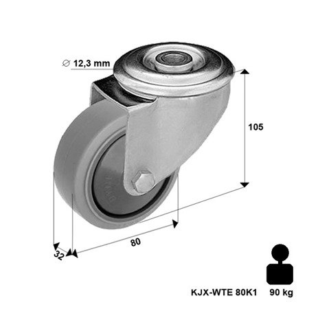 Swivel INOX castor KJX-WTE 80K12xKJX-WTE 80K1 Polypropylene wheel, rubber tyre. Load Capacity 90kg / 80mm / ball bearing