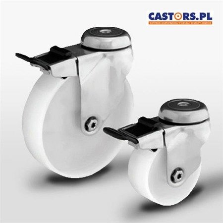Swivel INOX castor with break SX125NAHS-BK Polyamide wheel / Load Capacity 100kg / 125mm / plain bearing