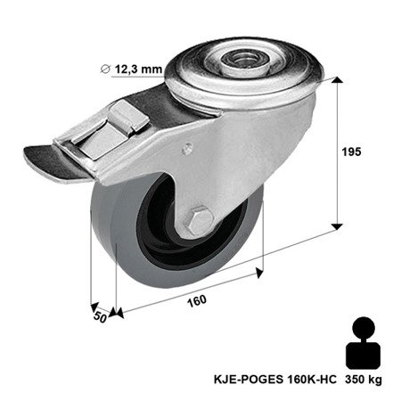 Swivel castor 2xKJE-POGES 160K1-HC with rubber wheel, polyamide rim. Load Capacity 300 kg / 160 mm / ball bearing
