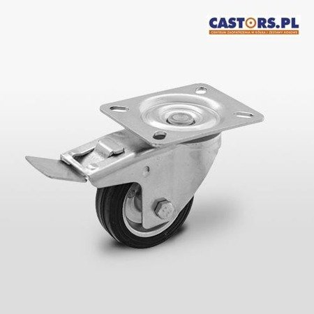 Swivel castor with break CKPW-SG 125W-HC Rubber tyre Steel rim Load Capacity 100kg/125mm/ Roller bearing
