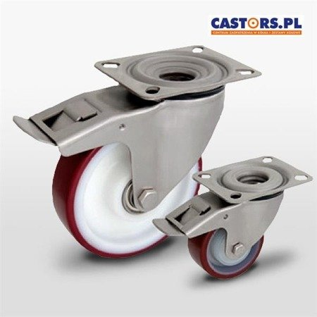 Top Plate Stainless swivel castor with break KPX-POPUB 125K1-HC Polyamide rim, PU tyre 200 kg / 125 mm / ball bearing